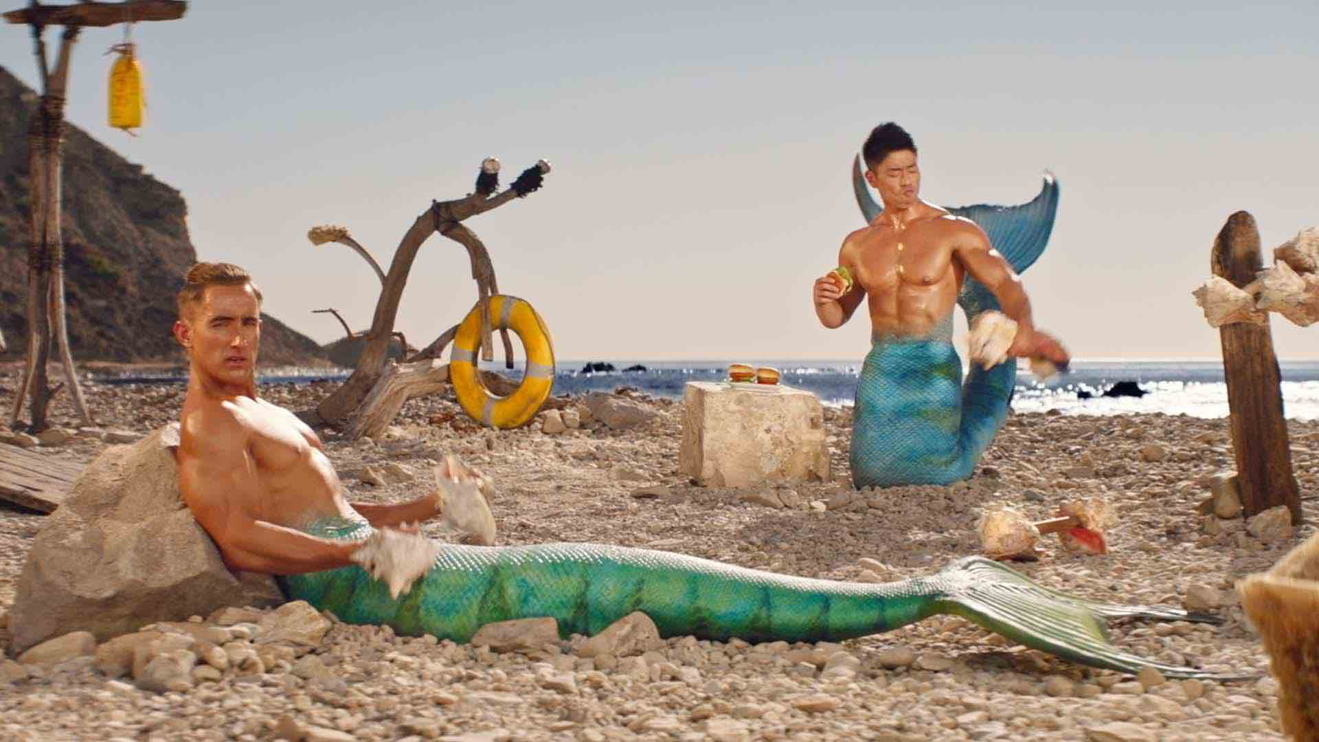 Thumbnail for a commercial for Gorton's called 'MerBros' showing buff men in mermaid costumes.