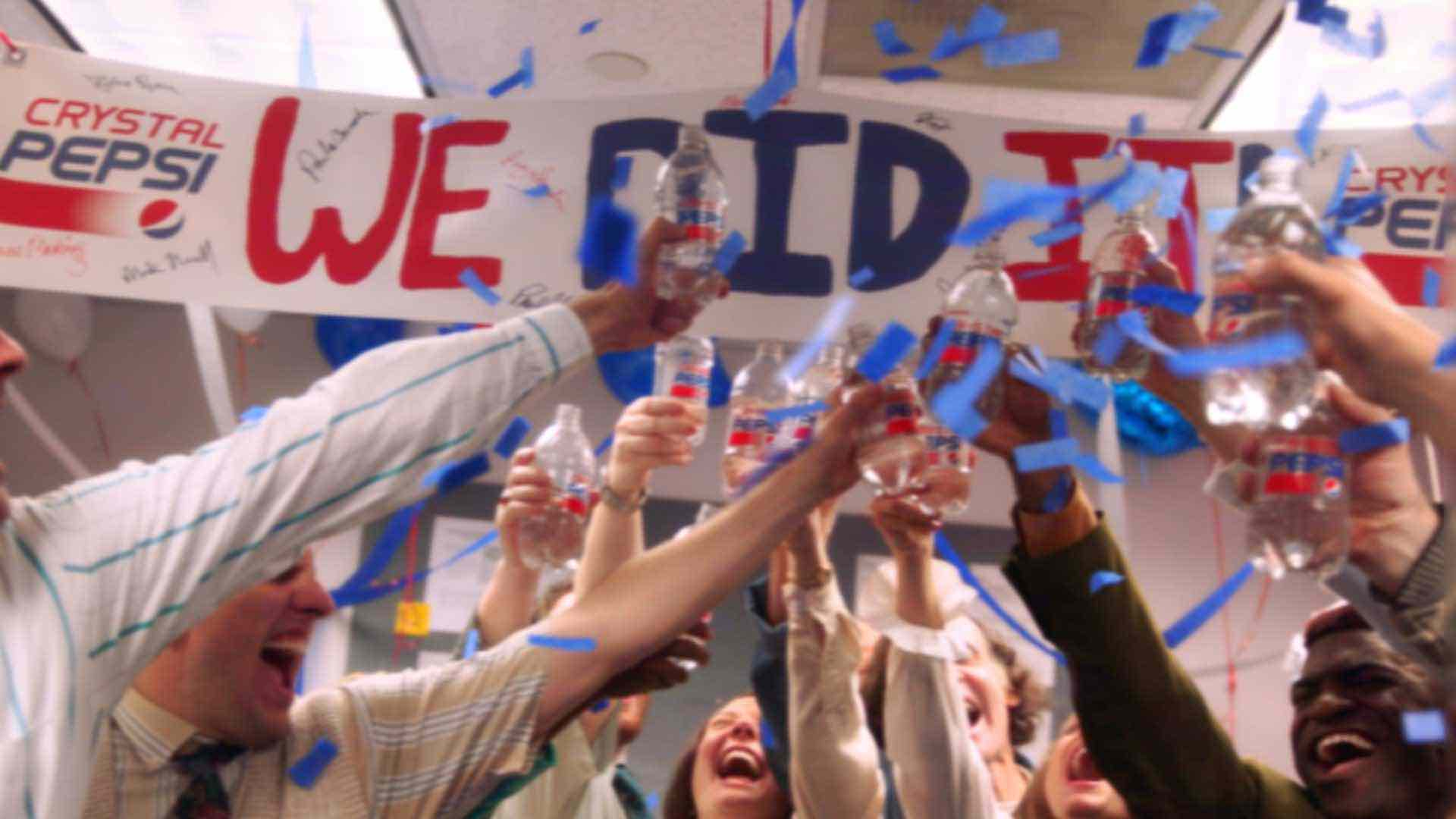 Thumbnail for a commercial for Crystal Pepsi called 'The 92nd Floor' showing people in an office cheering with Crystal Pepsi bottles.